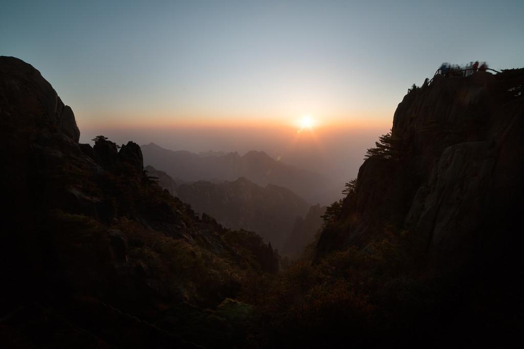 Sunset Bright Summit Huangshan Mountain Yellow Mountain China © PhotoTravelNomads.com