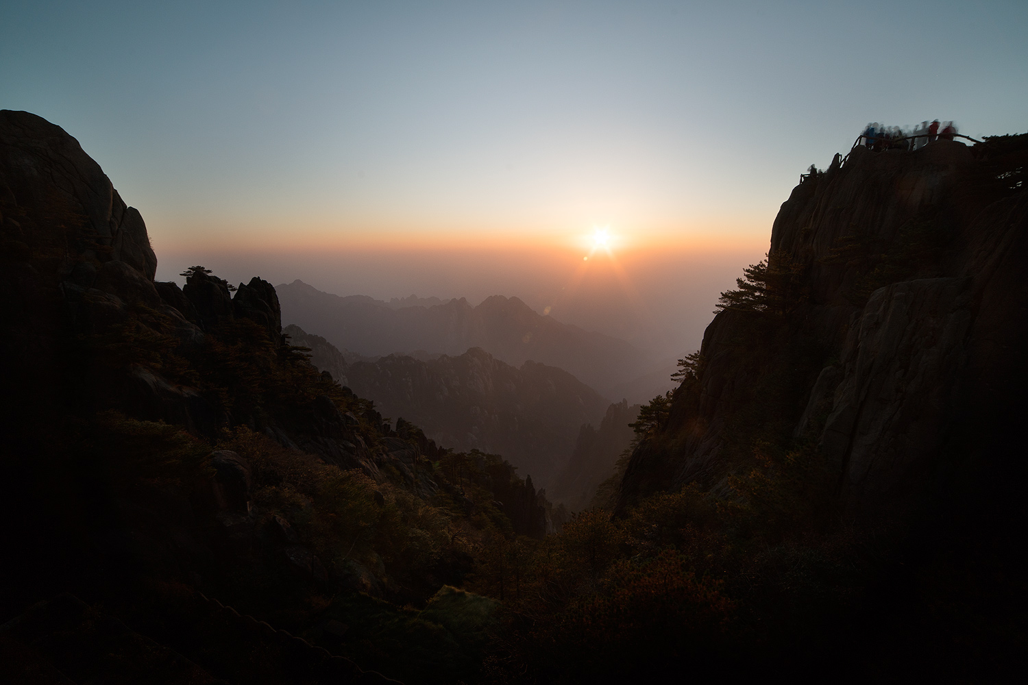 Sunset Bright Summit Huangshan Mountain Yellow Mountain China © PhotoTravelNomads.com