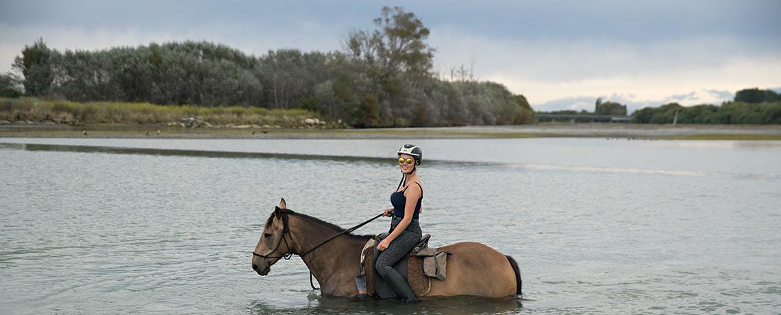 Flussüberquerung beim Horse Riding in Clive