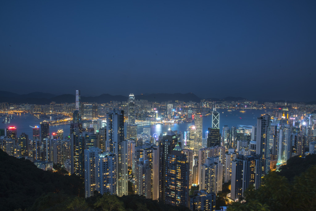 "View from ""The Peak"" in Hong Kong at night © PhotoTravelNomads.com"
