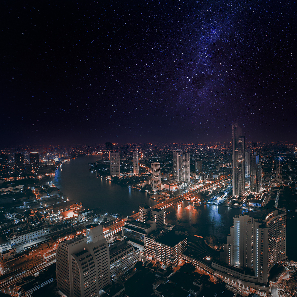 Bankgkok at Night with Stars - PhotoTravelNomads.com