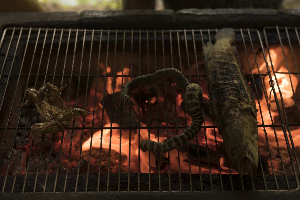 Grillbuffet: Frösche, Schlangen und Mekong Fisch